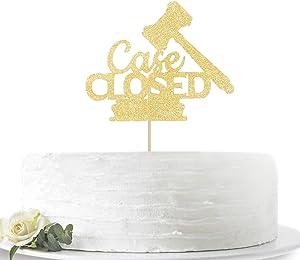 Gold Glitter Case Closed 2020 Graduation Cake Topper-Congrats Grad Party Decorations Supplies-High School Graduation, College Graduate Cake Topper