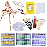 121 Pieces Quality Artist Paint Tools | Complete Professional Painting & Art Supplies Set - Field Easel w/Storage, Canvases & Pad, Acrylic & Oil Paint Sets, Watercolor Set, Brush Sets, and More
