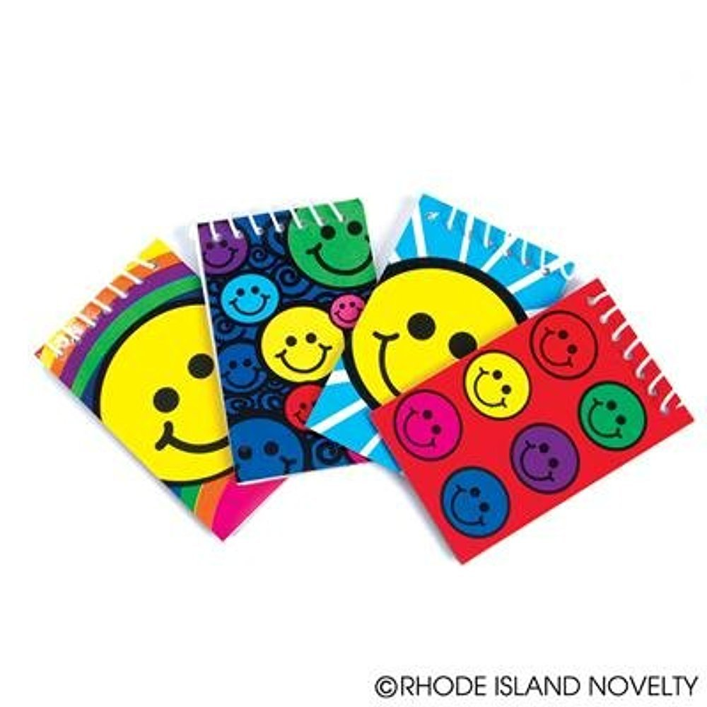 2 Dozen (24) Smiley Face Mini Spiral Notebooks Smile Emoticon Emoji Party Favors Classroom Teacher By Rhode Island Novelty