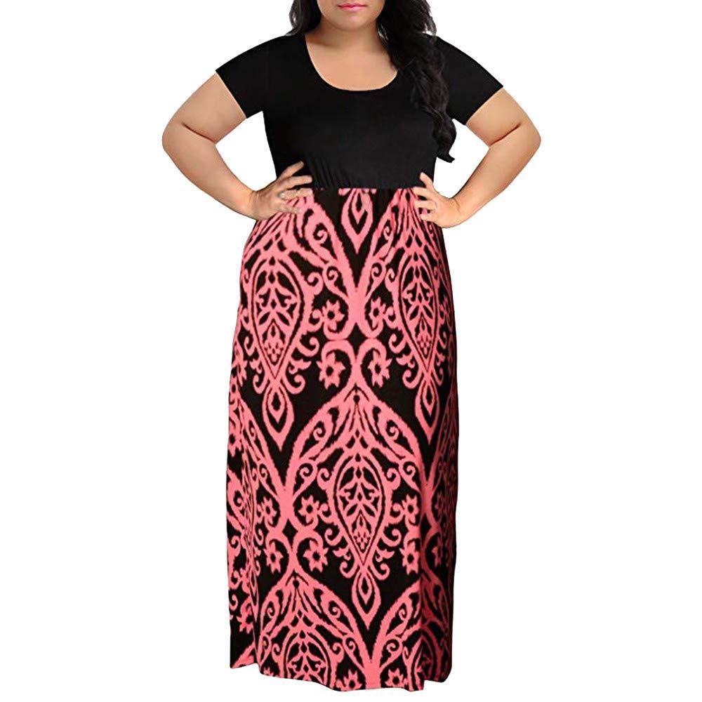 iLUGU Women's Maxi Dress O-Neck Long Sleeve Floral Printed Casual Swing Long Maxi Dress by iLUGU