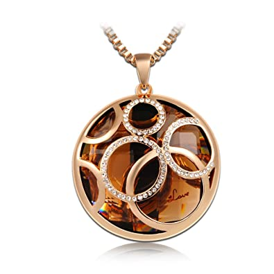 PAULINE & MORGEN Champagne Rose Gold Plated Round Crystal Pendant Women Necklace Jewellery 9VtDh4v