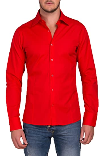Camisa para hombre manga larga, para trajes, tiempo libre, bodas, modelo estándar Slim Fit