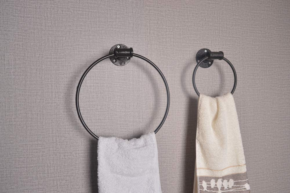 WYZBD Handtuchring Eisen Industrie Windrohr Bad Handtuchhalter h/ängen Ring schwarz Runde Handtuchring,15cm