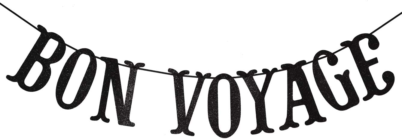 Bon Voyage Party Banner for Adventure Awaits Going Away Celebration Moving Away Retirement Party Decorations Sign Bunting (Black Glitter)