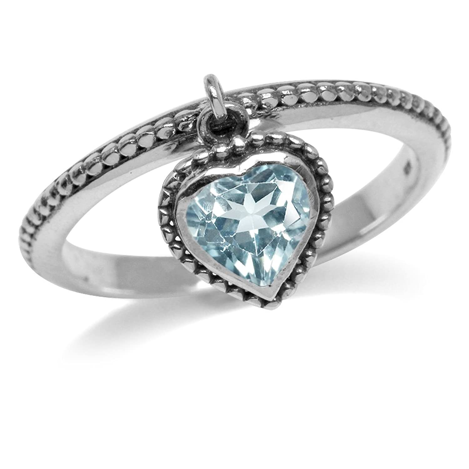 1.08ct. Dangle Genuine Heart Shape Blue Topaz 925 Sterling Silver Stack/Stackable Ring