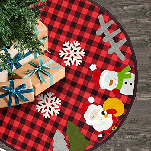 Yostyle 48 Inch Christmas Tree Skirt, Large Size Red and Black Plaid Tree Skirt with Santa Snowman Fence Xmas Tree Design, Tree Base Cover Mat for Christmas Home Holiday Party Decorations