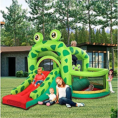 Inflatable Bounce House Castle,5-in-1 Jump and Slide Bouncer w/Long Slide, Jumping Area, Ball Playing Area, Kids Party Jump Bouncer House for Garden Backyard (from US, Frog): Kitchen & Dining