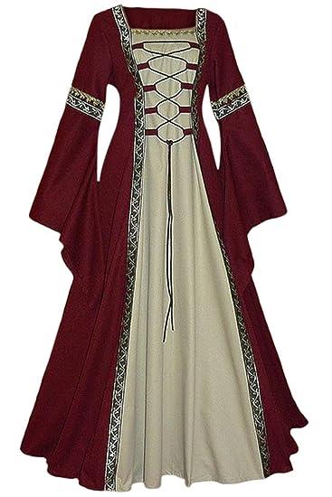 Mujer Halloween Disfraz de Princesa Reina Medieval Vestido ...