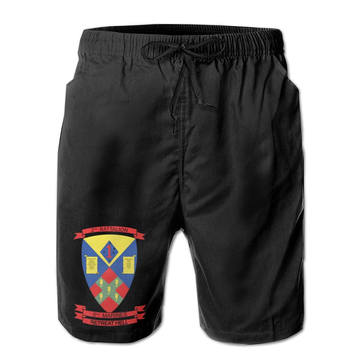 5th Marines Men Summer Casual Shorts,Beach Shorts Surf Shorts USMC 2nd Battalion