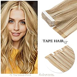 Neitsi A6 12inch Tape in Human Hair Extension Seamless Skin Weft Straight Remy Hair 10pcs (P18K/613)