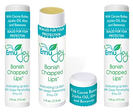 Banish Chapped Lips Emu Oil Lip Balm for Severe Dry Lips Jumbo Tube 3 Pack
