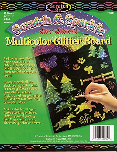 (Scratch & Sparkle Soft-Scratch Multicolor Holographic Glitter Board 10 sheets)
