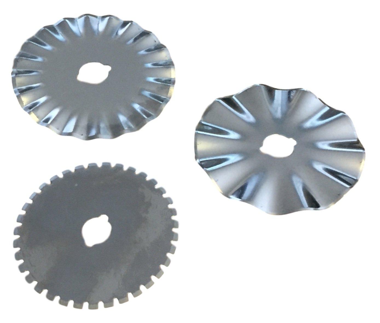 Set Of 3 45mm Rotary Craft Blades - Pinking, Wave & Perforation Taskar