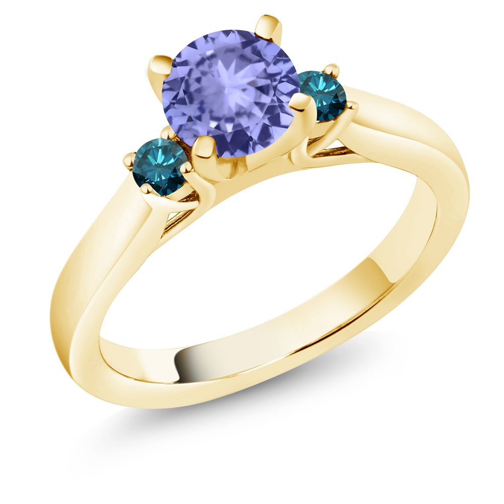 1.10 Ct Blue Tanzanite Blue Diamond 18K Yellow Gold Plated Silver 3-Stone Ring