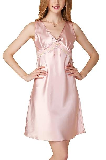Dolamen Camisón para mujer, Mujer Camisones raso Satin Pijamas, Bordado de lujo y de