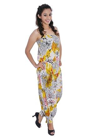 5131fe0877b5 Jaipur kala kendra Women s Cotton Floral Printed Long Medium Yellow Color  Jumpsuit Dress