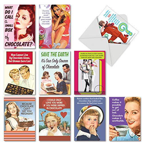 - 10 Boxed 'Bitter Sweet' Assorted Blank All-Occasion Cards with Envelopes - Featuring Women, Chocolate Lovers, Funny Greetings - Thank you, Appreciation, or Any Special Occasion Gift A1239