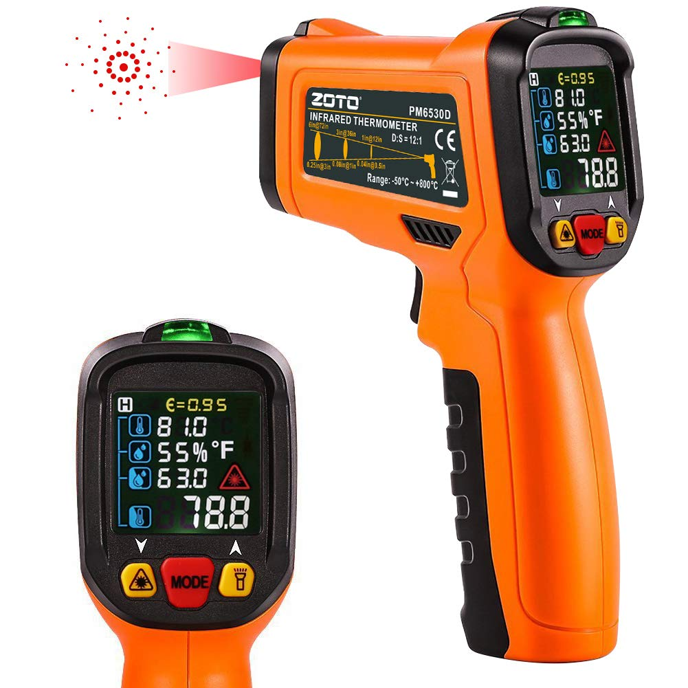 Digital Laser Infrared Thermometer,ZOTO Non Contact Temperature Gun Instant-read -58 ℉to 1472℉with LED Display K-Type Thermocouple for Kitchen Cooking BBQ Automotive and Industrial PM6530D Thermometer by ZOTO