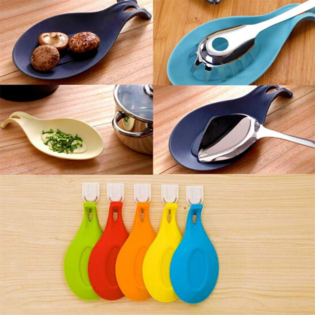 Rouge Sevenfly Silicone Spoon Rest Ustensile Cuisine Support cuill/ère /à Soupe Forme Ustensile de Cuisine Titulaire Spoon Place Tap Hot Pad