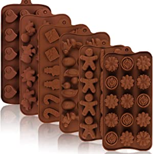 6 Pack Chocolate Molds Silicone, Flowers | Hearts | Christmas Socks | Dinosaur Candy Molds, Food Grade Silicone Mold for Festival, Wedding, Parties, DIY Enthusiasts
