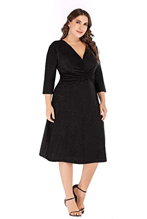 54f7021b704 GMHO Women s Plus Size 3 4 Sleeves Evening Grom Party Midi Dress (Black