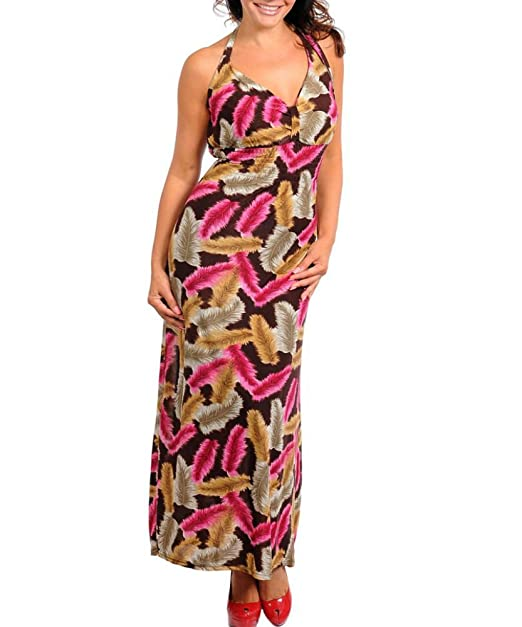 Plus Size Feather Print Long Maxi Dress, Sleeveless Summer Dress