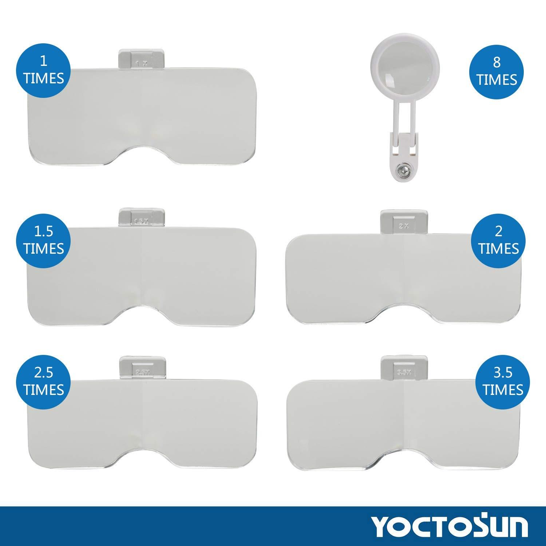 1 x A 3.5 x Zoom con ingrandimento 6 staccabile lenses-headset testa montata con luci Luce LED a mani libere con fascia illuminato Magnifier visiera rotondo