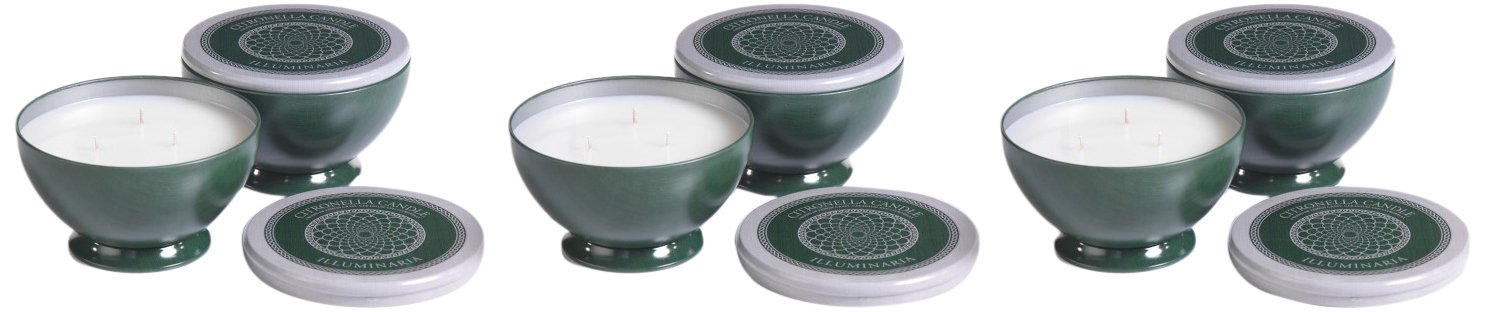3 Wick Candle in Square Tin, Citronella Scent (Set of 6)