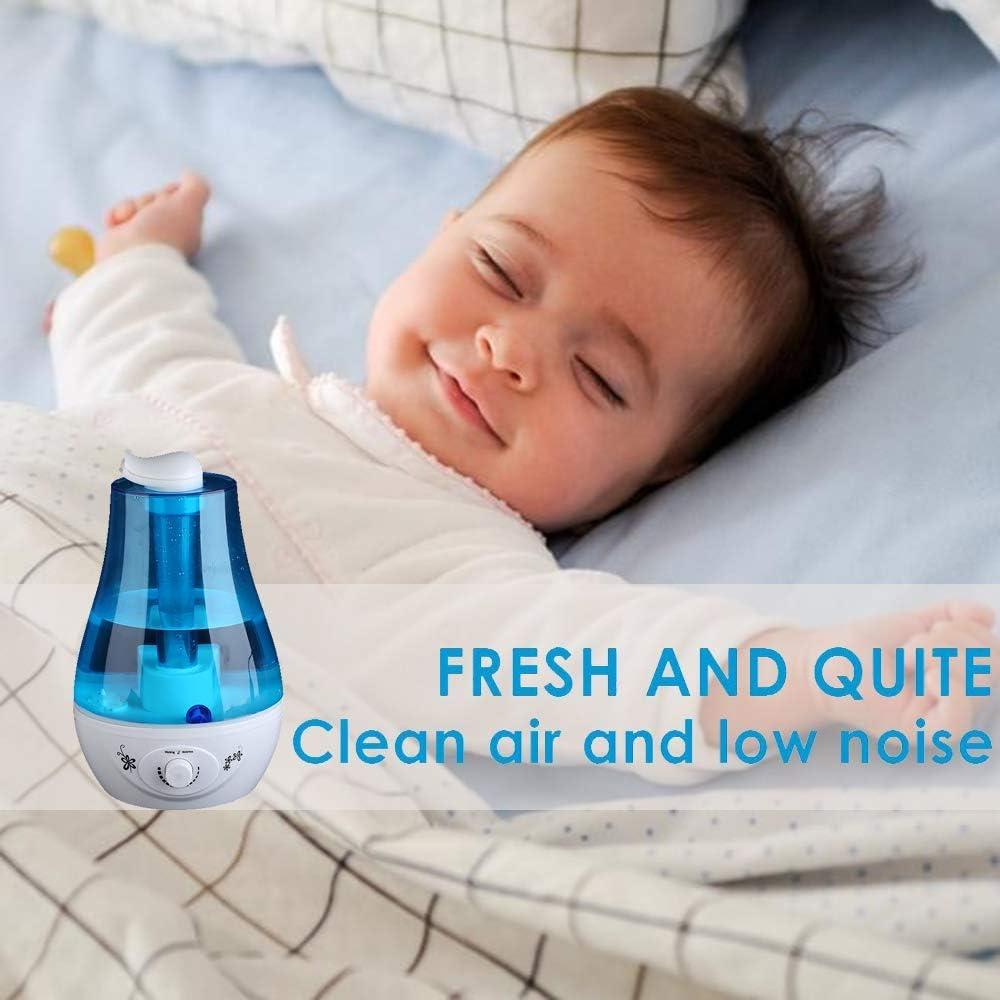 Chambre Ejoyous Humidificateur /à ultrasons Protection Niveau dEau Bas pour Maison SPA Bureau Bleu 3L Humidificateur d/'air Silencieux avec Lumi/ère color/ée /à LED Double Buse /à 360 Degr/és