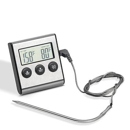NEEGO Termómetro de Cocina para Horno Termómetro Digital Carne con Temporizador Alarma y Pantalla LCD Termómetro para Cocinar a la Parrilla Hornear ...