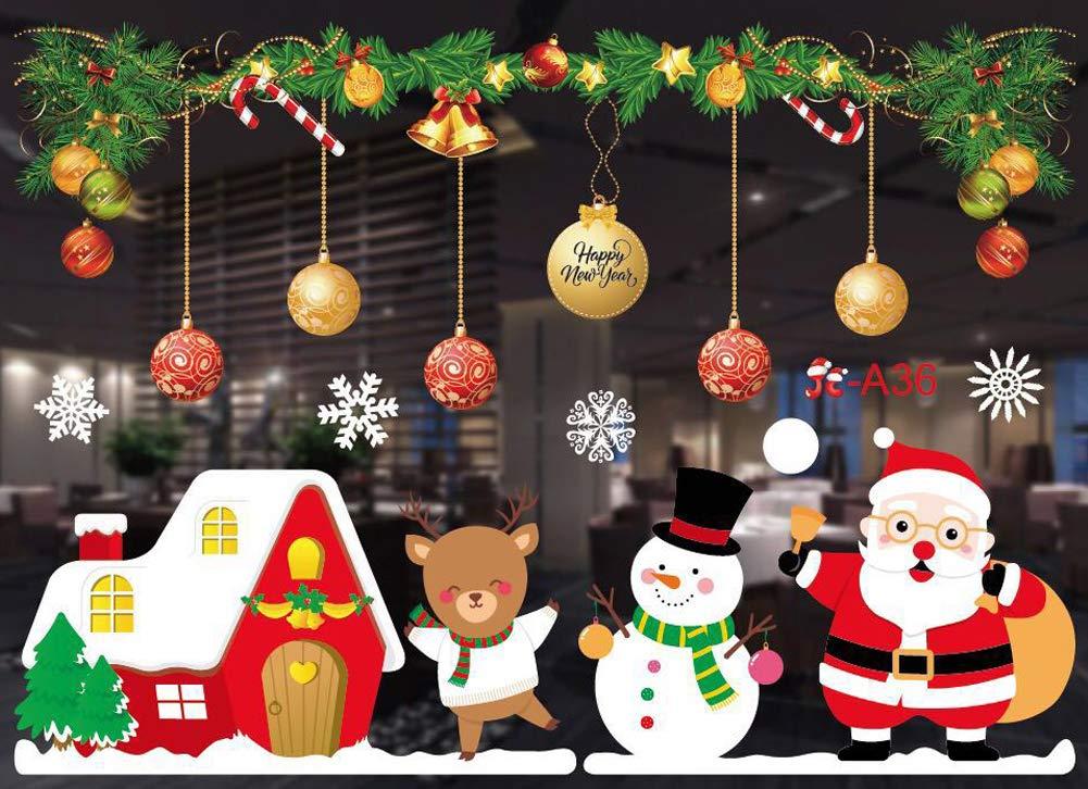 Christmas Decorations Window Clings Santa Claus Elf Reindeer Peeking Decals for Winter Wonderland Xmas Party Supplies B