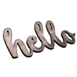 KU-DaYi Hello Cutout Wood Sign Home Décor Wall Art Decor Rustic Farmhouse Front Door Sign 12 Inch Long