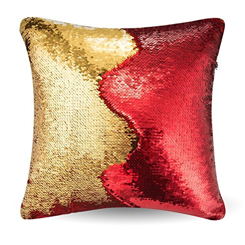 MOCOFO Glitzy Square Shape Magical Color Changing Reversible Paillette Sequin Mermaid Square Throw Pillow Covers Red-Golden 16