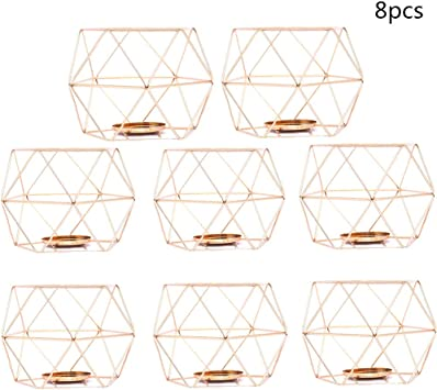 3D Geometry Design Metal Frame Candle Holders Candlestick for Church Home Party