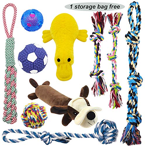 MLCINI Dog Toys Interactive Rope Dog Toys Large Dog Toys Cute Plush Dog Squeaky Toys IQ Treat Balls,Dog Toy Pack Dog Toys for Small Medium Large Dogs Dog Gifts 10 Set with Bonus Storage Bag ()
