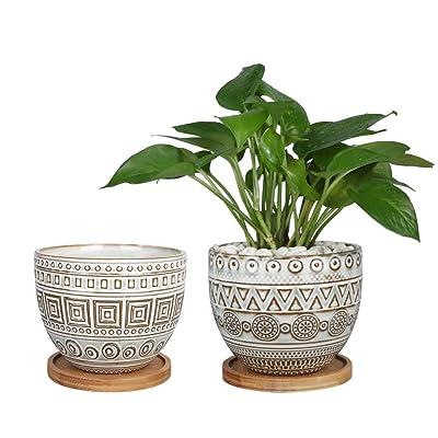 G EPGardening 5.5in Geometry Ceramic Planter Large Round Succulent Planter Flower Pot Indoor and Outdoor Brown Set of 2: Garden & Outdoor