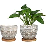 5.5in Geometry Ceramic Planter Large Round Succulent Planter Flower Pot Indoor and Outdoor Brown Set of 2
