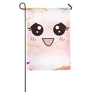Kawaii cara Emoji Shy jardín bandera banderas decorativa para interior y exteriores para desfile deportivo juego