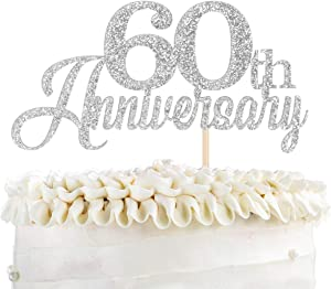 KakaSwa Happy 60th Anniversary Cake Topper, Cheers & Beers to 60th Anniversary Wedding Party Supplies,Sliver