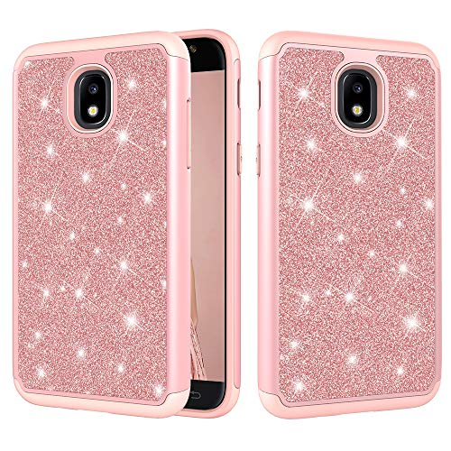 Galaxy J7 2018/Galaxy J7 V 2nd Gen Case/Galaxy J7 Refine Case/Galaxy J7 Aero/J7 Star/J7 Top/J7 Crown/J7 Aura/J7 Eon/J737V/J737T Case,ZERMU 2in1 Glitter Sparkle Bling Shining Case for J7 2018