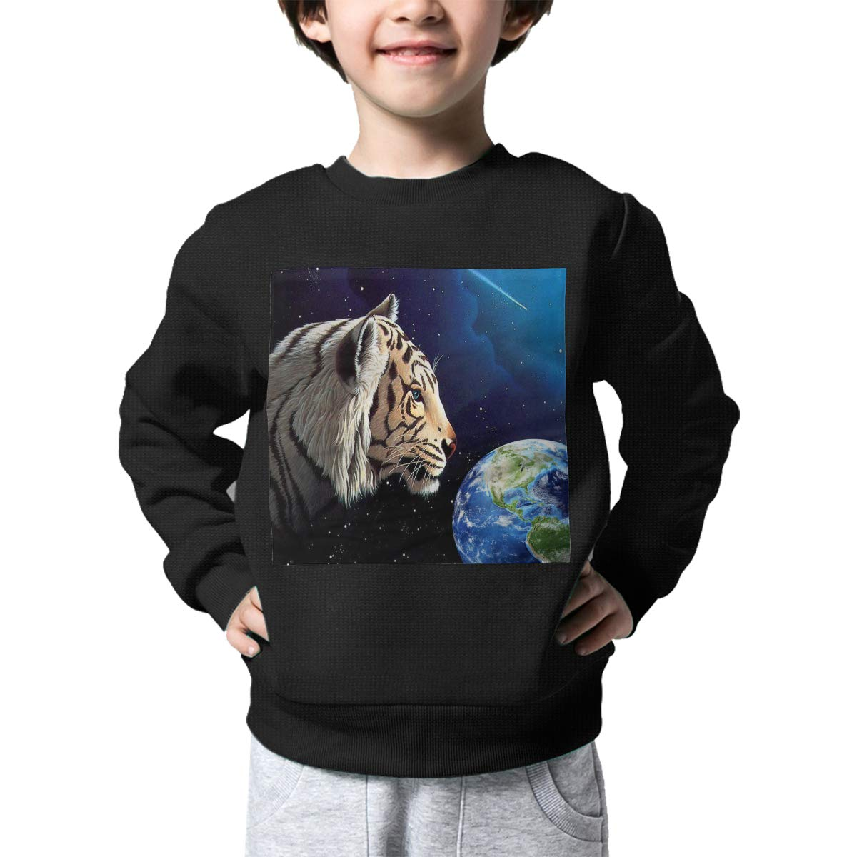 White Tiger Guarding The Earth Kids Pullover Sweater Funny Crew Neck Knitted Sweater for 2-6T