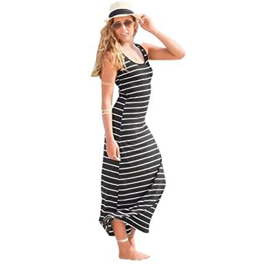 e0aa2eee24 Bookear Dress Women s Sleeveless Scoop Neck Striped Loose Long Maxi Dress  For Beach Travel (Black