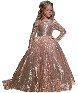 0fc34a102a053 hengyud Rose Gold Sequins Toddler Pageant Dresses Girls Long Sleeves Prom Dress  Kids 168