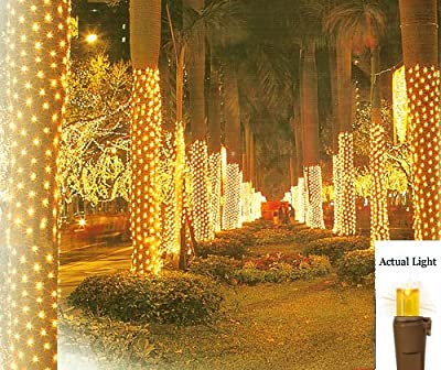 2' x 8' Amber LED Net Style Tree Trunk Wrap Christmas Lights - Brown Wire