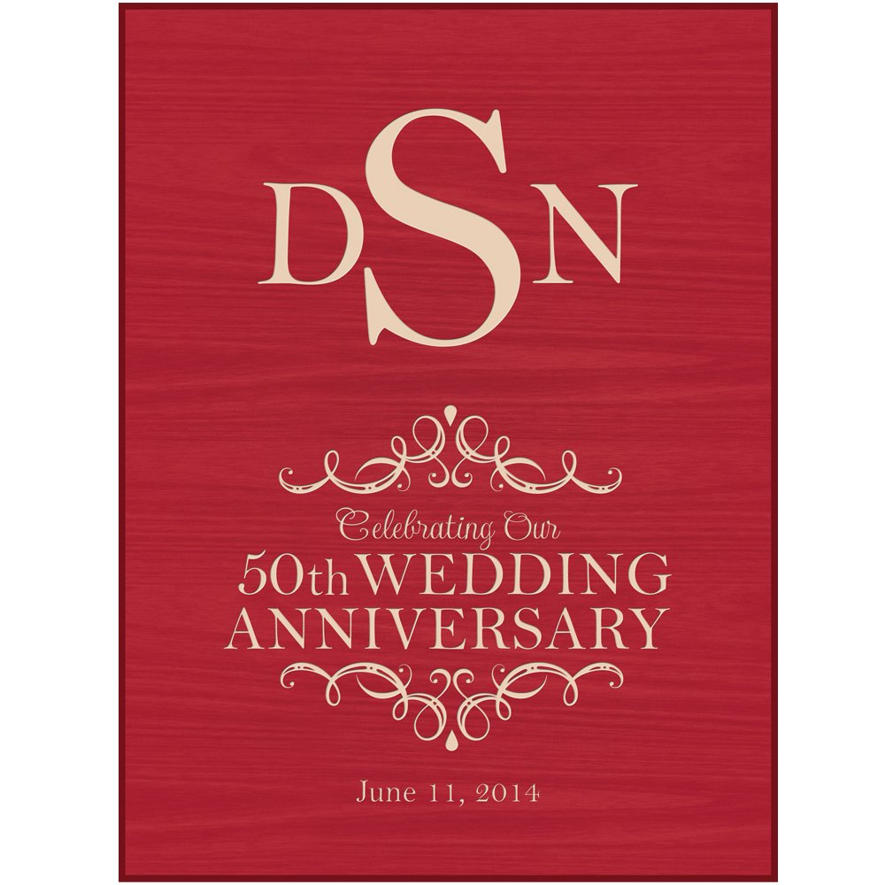 Personalized 50th Wedding Anniversary Wall Plaque (Red): Amazon.co ...
