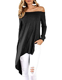 2a25af0b6cc19 Ninimour Womens Off Shoulder Tops Side Slit High Low T Shirts (Small ...