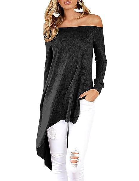 b023e819aea Qearal Womens Off Shoulder Tops for Women Black, Casual High Low Shirts (S,