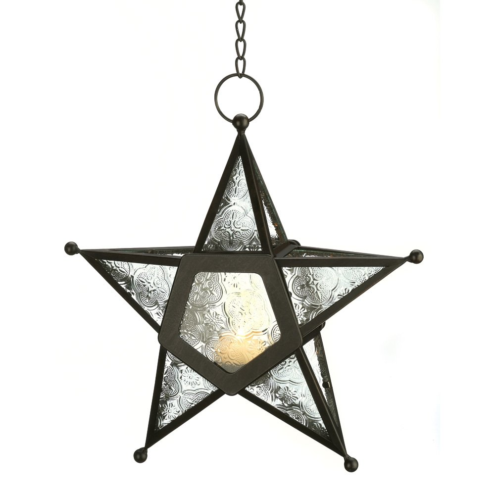 Amazon Gifts Decor Glass Hanging Star Candle Lantern Clear Home Kitchen
