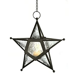 Gifts & Decor 57070454 Clear Star Candle Lantern Black