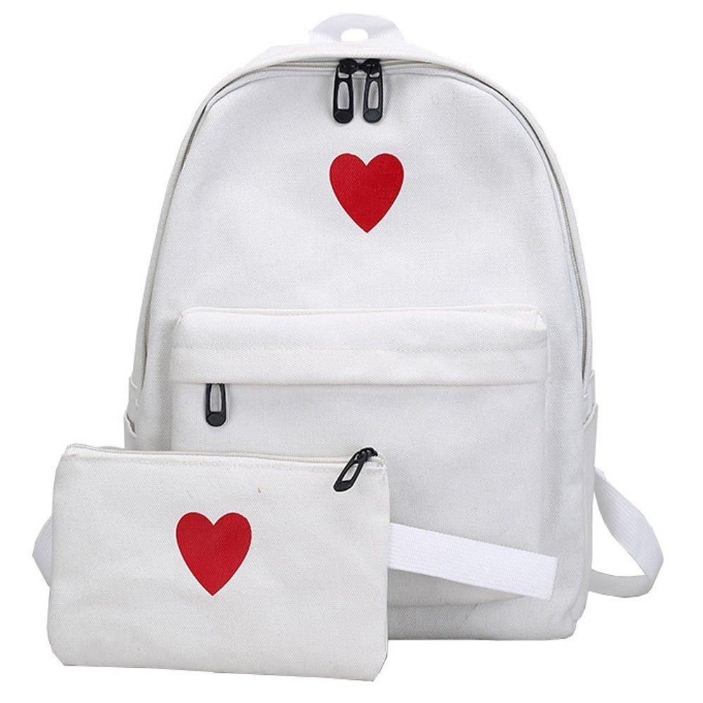 Aobiny Backpack Canvas girl's Heart Backpack Student Bun (White)